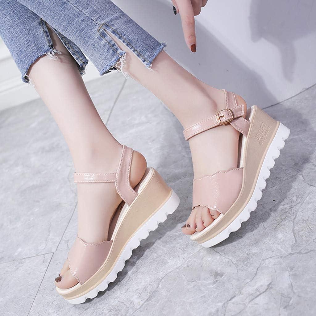 Hemlock Women Summer Wedge Sandal Teen Girls Platform Sandals Ankle Strap Beach Shoes Non-Slip Sandals Shoes
