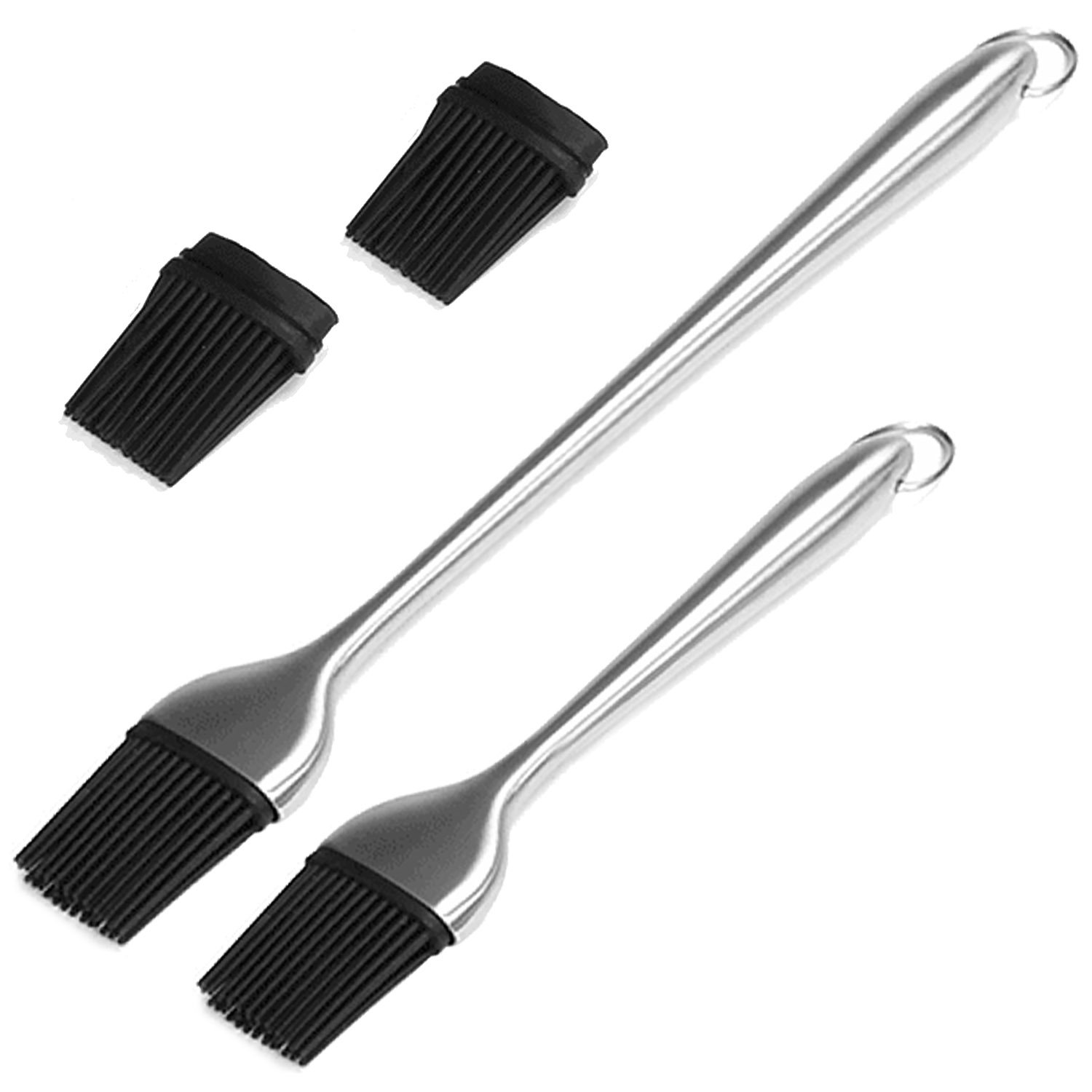 2 PCS 12 inch 7 inch Silicone Basting Pastry Brush with 2 Replacement Brush Head for Cooking Baking BBQ Gosear