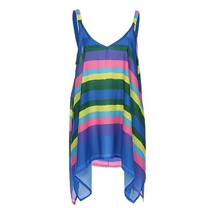 Tunic Pullover Women Plus Stripe Size Nadition Irregular Sleeveless SEqw4nO