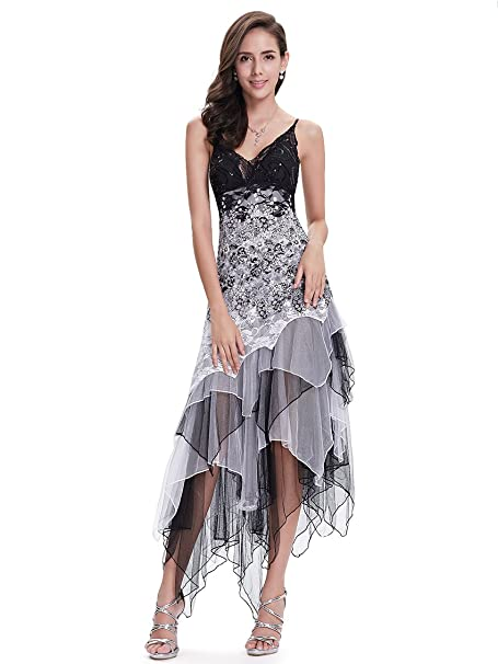 8da24f44ace8 Ever-Pretty Abito da Sera Asimmetrico in Pizzo Balze Scollatura per Donne  6212B  Amazon.it  Abbigliamento