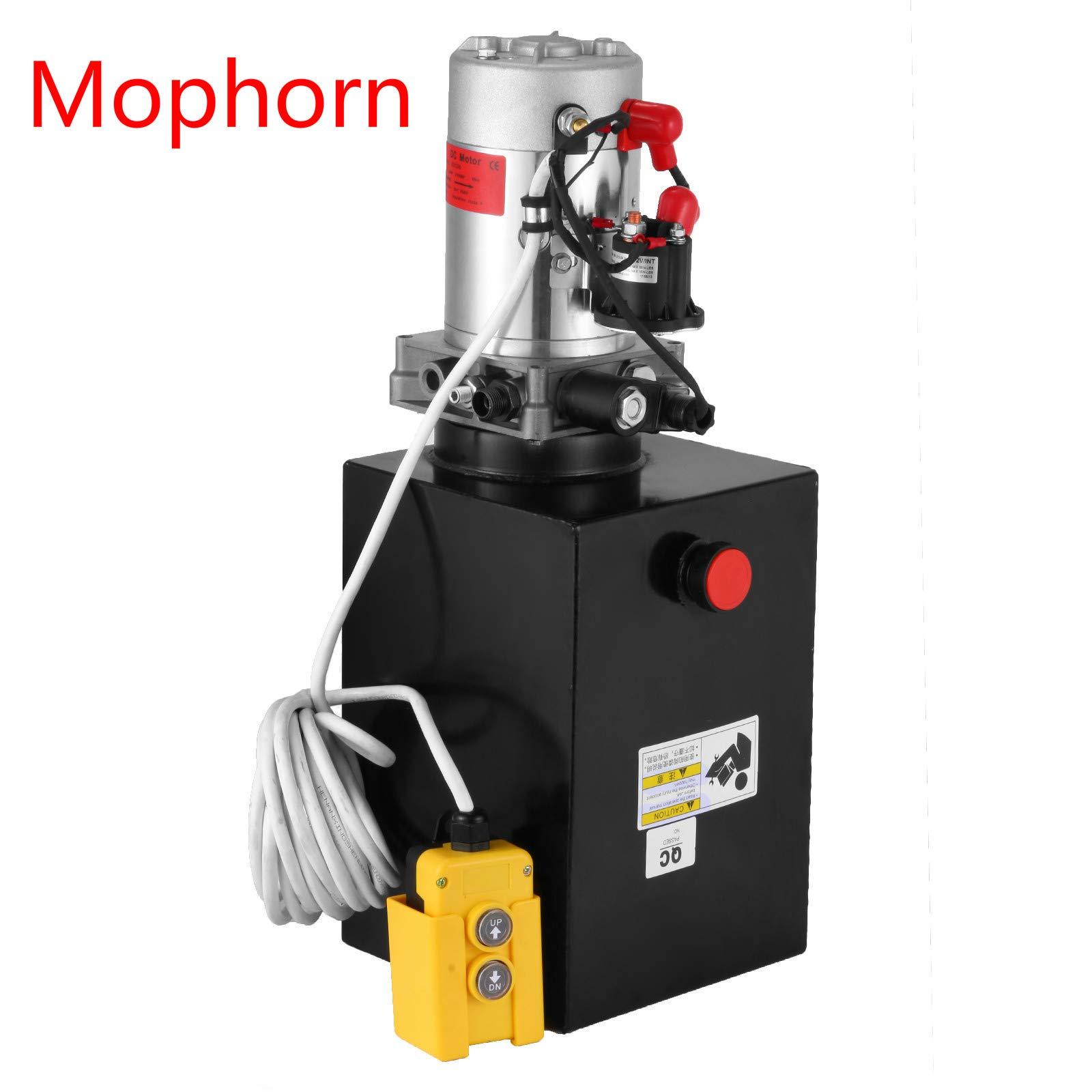 Mophorn 12 Volt Single Acting 12 Quart Metal Reservoir Hydraulic Pump Power Supply Unit for 3200PSI Dump Trailer with Remote Control 3.17 Gallon Truck Car Lift