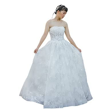 Erosebridal Strapless Lace Bridal Gowns For Women Princess Ball Gown ...