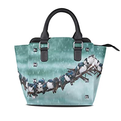 56a3ace4c84a Amazon.com  Ladies Genuine Leather Tote Bags Birds Inhabit Branch Womens  Hangbags Shoulder Bags  Shoes