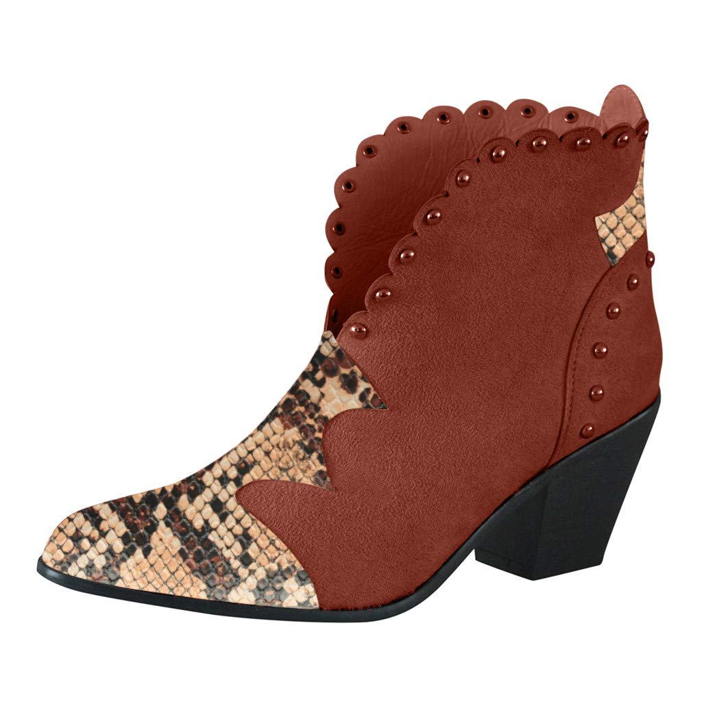 ZOMUSAR Womens Pumps Snake Print Plus Size Pointed Toe Leather Thick Heel Slip On Boots Brown by ZOMUSAR