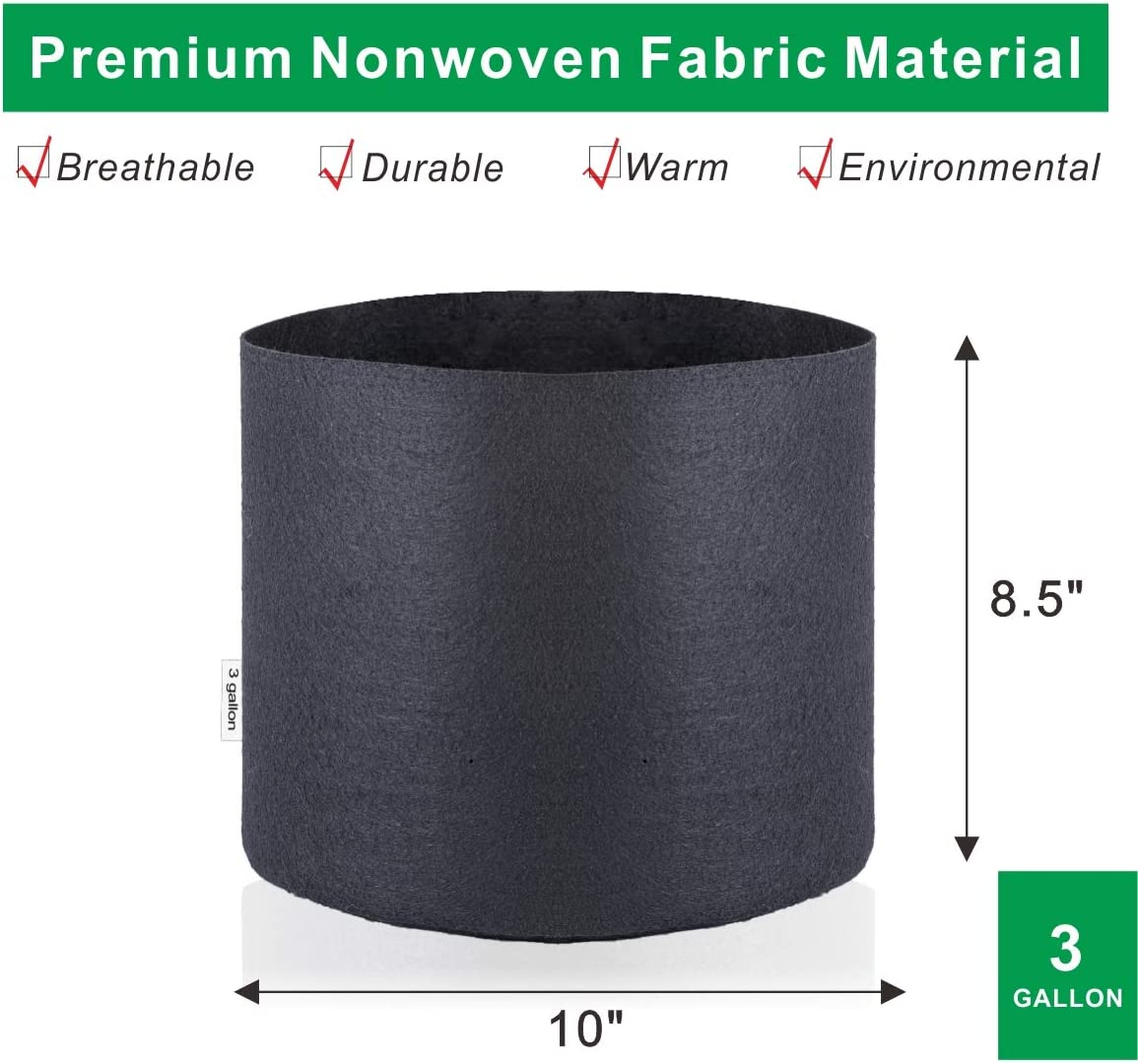 3 Gallon BloomGrow 1 2 3 5 7 10 15 20 25 30 45 65 100 Gallon 12-Pack Planting Grow Bags Black Fabric Grow Pots for Hydroponic Indoor Plant Growing