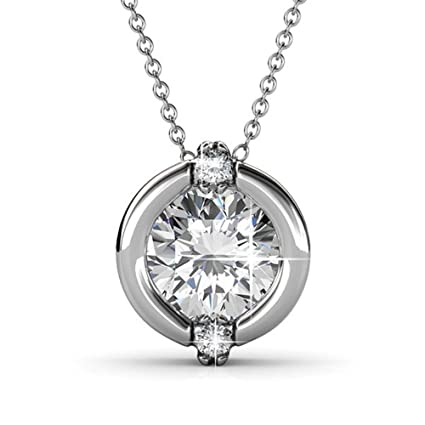 7f393350d69 Cate & Chloe Zara 18k Pendant Necklace, Round-Cut CZ Solitaire, Crystal  Necklace, Chain Necklace, Best Necklace for Women, Teens, Girls (White Gold)