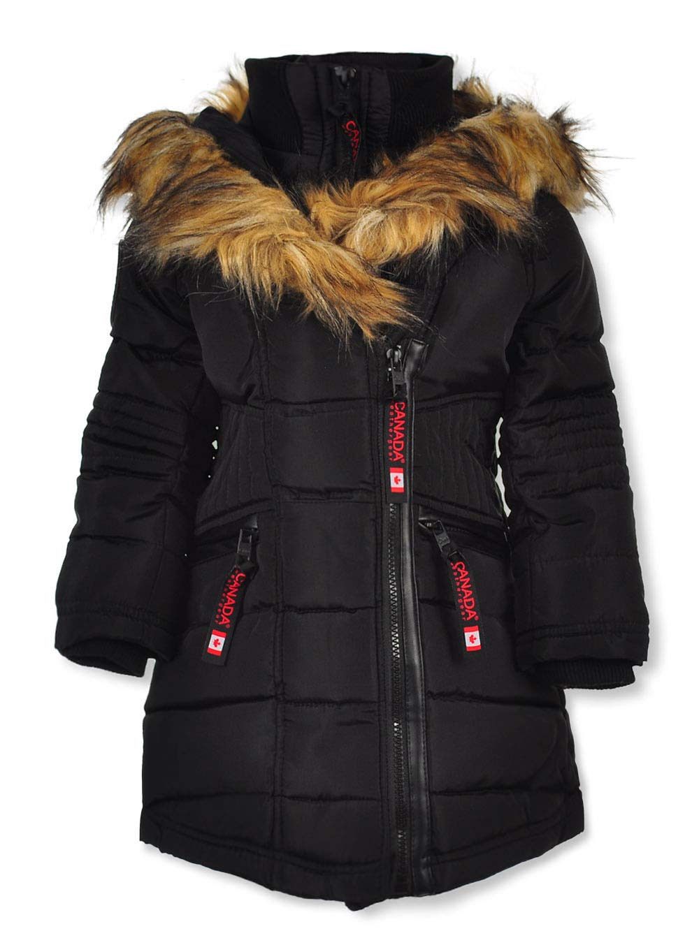 CANADA WEATHER GEAR Little Girls Moto-Stitched Insulated Jacket - Black, 6X by CANADA WEATHER GEAR