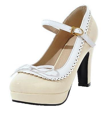 VogueZone009 Damen Rund Zehe Hoher Absatz Gemischte Farbe Ziehen auf Pumps Schuhe, Cremefarben, 37