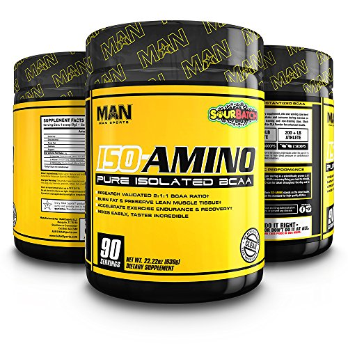 MAN Sports ISO-AMINO BCAA Amino Acid Powder, Sour Batch, 90 Servings, 630 Grams