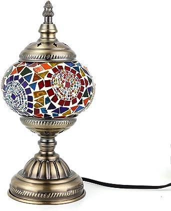Kindgoo Lampe Turque Mosaique de Chevet en Verre 17 x 36cm Led Ampoule Incluse Base en Bronze bleu