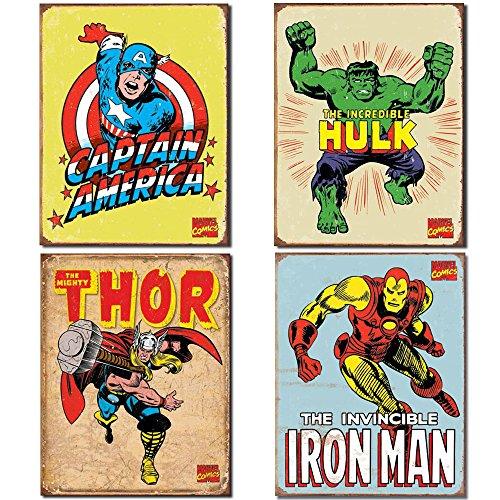 Superhero Tin Sign Bundle - Vintage Captain America, Vintage The Incredible Hulk, Vintage Thor and Vintage Iron Man