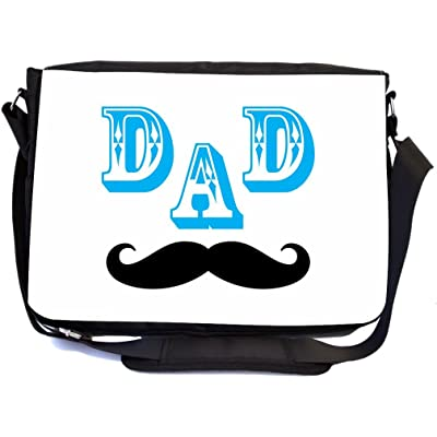 Rikki Knight Dad Mustache Face Father's Day Gift Design Multifunctional Messenger Bag - School Bag - Laptop Bag - with padded insert for School or Work - Includes Matching Compact Mirror