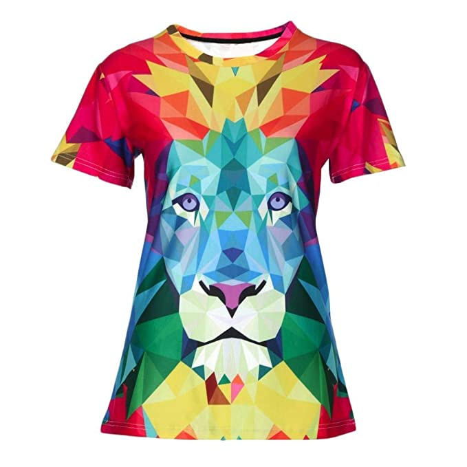 Cool Women Multicolour Lion 3D Digital Print Shirts Casual Short Sleeve Top T  Shirts Sports Casual fc43b54558
