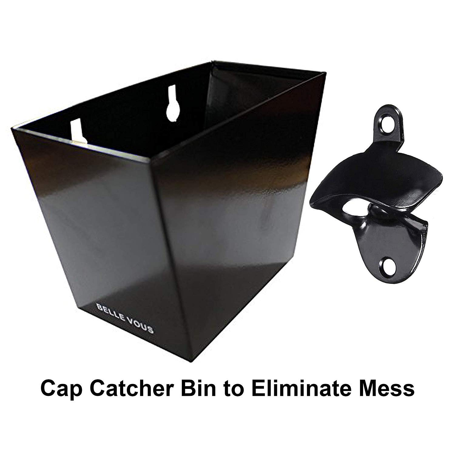 Heavy Duty Matte Black Bottle Opener with Steel Cap Catcher Bin Holds Upto 75 Caps Includes 4 Stainless Steel Mounting Screws /& Wall Plugs Wall Mounted Bottle Opener