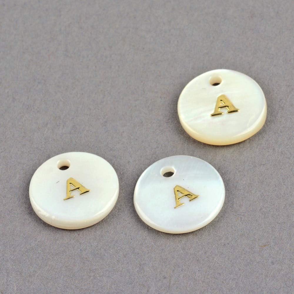 rotondi piatti con lettere dorate Confezione da 200 ciondoli a forma di conchiglia dacqua dolce per creazione di gioielli e artigianato UR URLIFEHALL