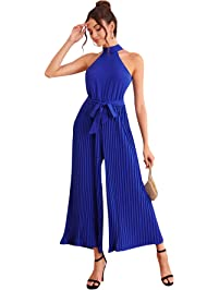 Milumia Women Halter High Waist Elegant Party Homecoming Wide Leg Pleated Jumpsuits