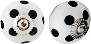 Set of 6 Pink and White Dot and Stripes Ceramic Kitchen Bedroom Cupboard Knobs