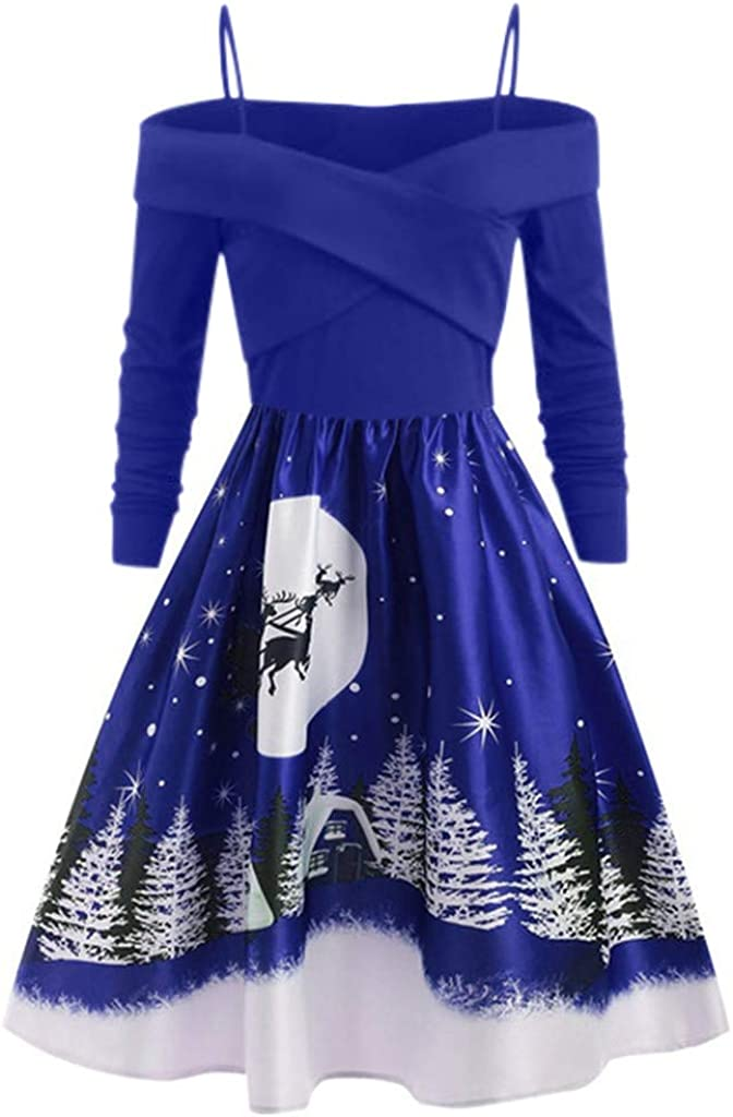 iNoDoZ Women Elegant Christmas Day Long Sleeve Print Dress Plus Size Party Dress