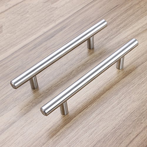 Aybloom Cabinet Handles - Pack of 30 Stainless Steel Brushed Nickel Finish Hollow Tube T Bar Drawer Pulls for Kitchen Furniture Hardware (Overall Length: 5'', Hole Center: 3'') by Aybloom (Image #5)