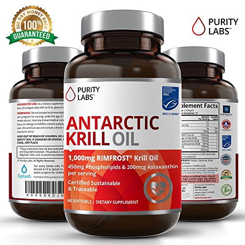 Certified Pure Antarctic Krill Oil 1000mg with Astaxanthin and Phospholipids - 60 Softgel Capsules Healthy Heart, Brain & Joint Support Pills Supplements