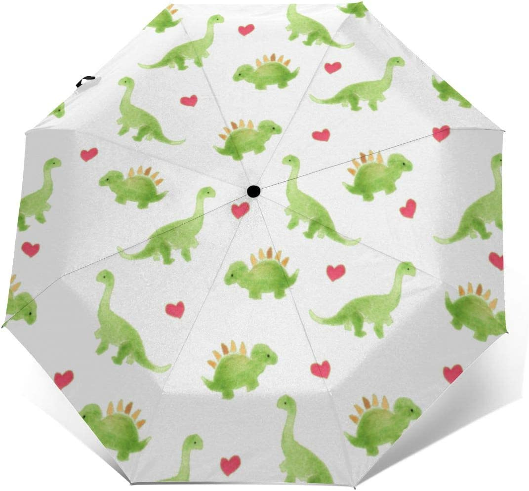 Cute Dinosaur Automatic Windproof Travel Umbrella Compact Canopy With Black Glue And UV-resistant Coating
