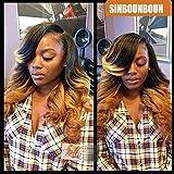 Sinbounboun Hair Ombre Brazilian Body Wave 4 Bundles (24″24″24″24″)1B T30 Virgin Hair Body Wave Weave 2 Tone Black Half Honey Blonde Copper Human Hair Extensions