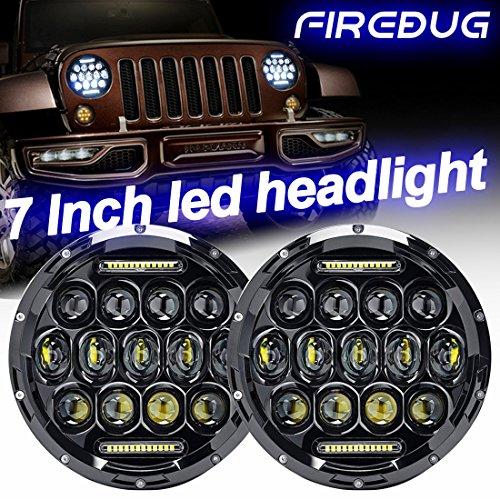 Firebug Jeep Headlight 75W 9000 Lumens Hi/Lo Beam, Jeep Wrangler Headlights DRL, 7 Inch Round LED Headlight, Jeep Wrangler JK TJ LJ 97 -16, Hummer MACK R Peterbilt Kenworth Freightliner Fj Cruiser