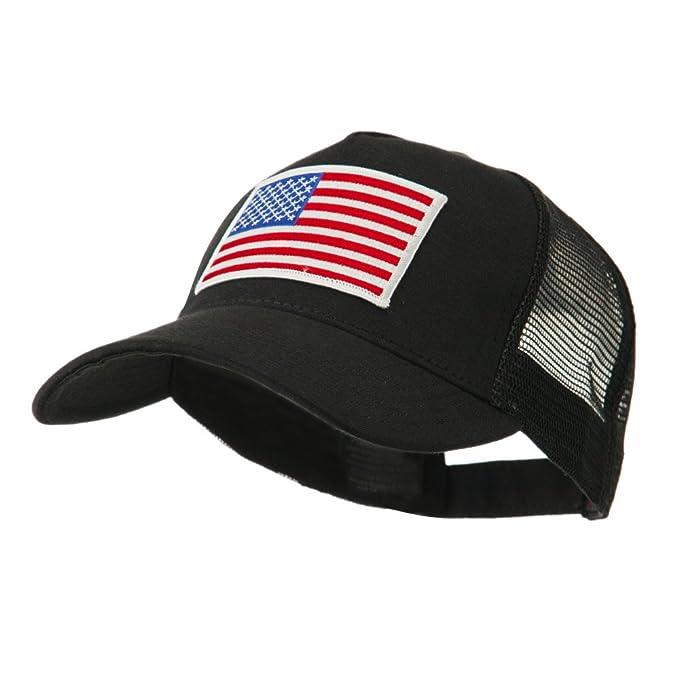 E4hats 5 Panel Mesh American Flag Patch Cap - USA Flag OSFM Black White 2e93346e1cc