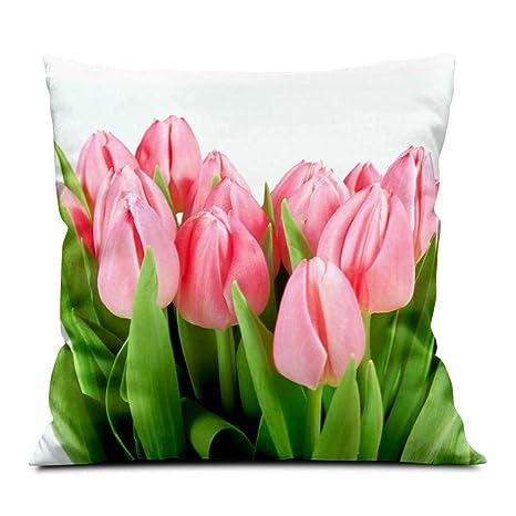 Amazon.com: Rosa tulipanes, paño suave almohadas manta, sofá ...