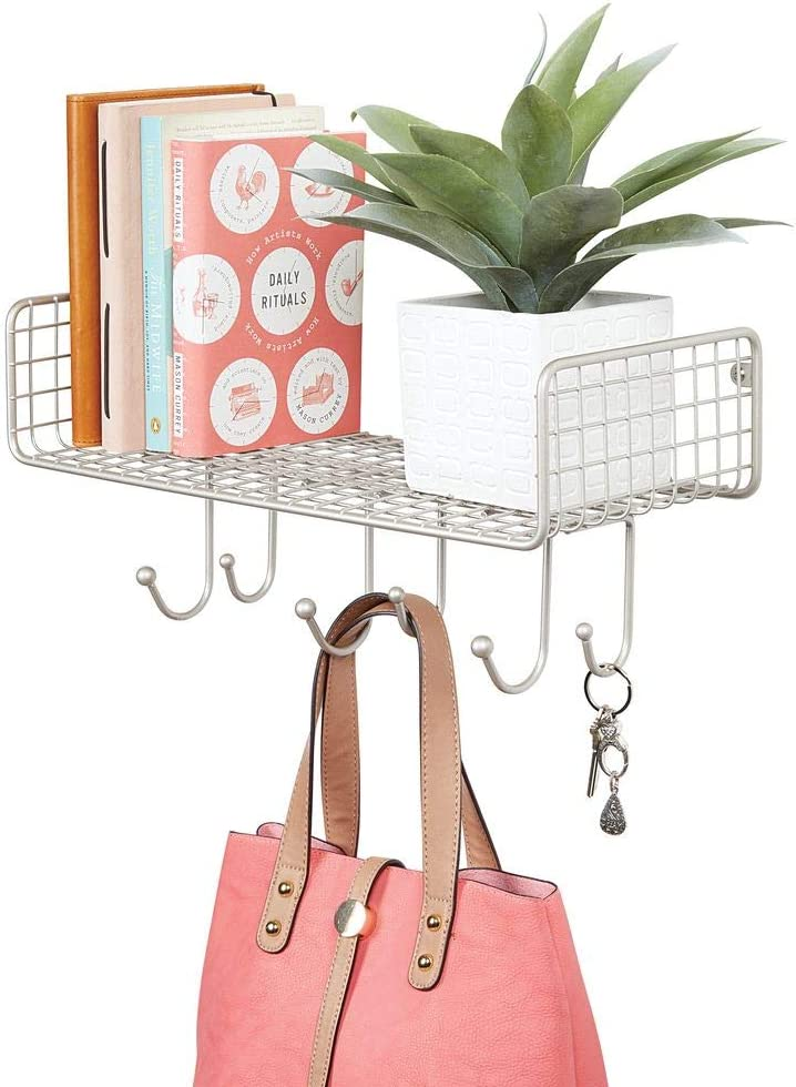 mDesign Metal Wire Farmhouse Wall Decor Storage Organizer Shelf with 6 Hooks for Entryway, Hallway, Mudroom, Bedroom, Bathroom, Laundry Room - Wall Mount - Satin