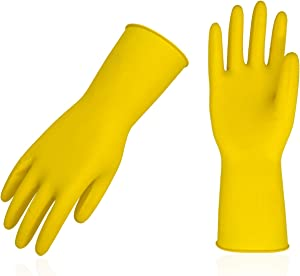 Vgo 10Pairs Reusable Household Cleaning Dishwashing Kitchen Glove,Long Sleeve Latex Working,Painting,Gardening Gloves,Pet Care(Size S,Yellow,HH4602)