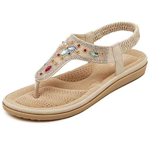 e14329312 Fimuy Flat Jeweled Leather Women s Flip Flops Anti-Skid Thong Sandals Beige  36 5.5 D