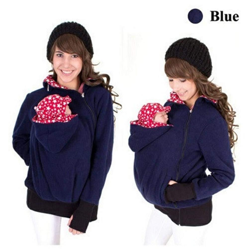 Womens Double Thick Hoodie Jacke K/änguru Mantel Jacke Frauen Mutterschaft schwangeres Top Baby tragende Baby-Halter Fleece Kapuzen-Sweatshirt Babytrage-Pullover