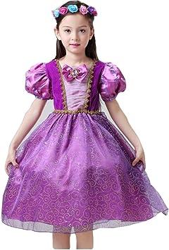 Disfraz de princesa Rapunzel para niñas, vestido de tul de manga ...