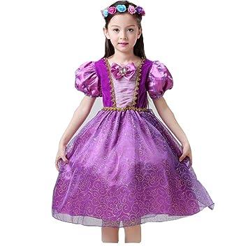 Disfraz de princesa Rapunzel para niñas, vestido de tul de ...