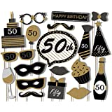 50th Birthday Party Black and Gold Photo Booth Props Kit - 20 Pack Party Camera Props Fully Assembled