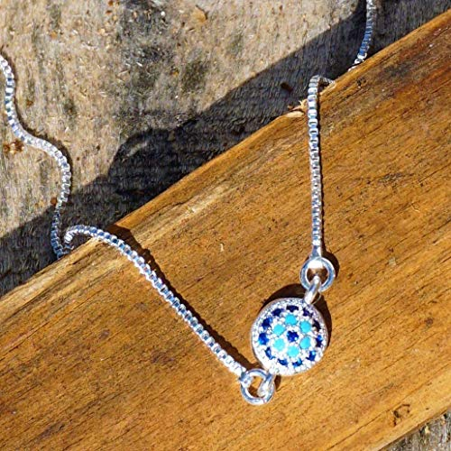 SALE | BARBARI Jewelry Silver Plated Bracelet for Women | Handmade Gift for Her+ FREE GIFT BOX! High Quality Round Evil Eye Pendant- inlaid blue glass zircons- Special Design