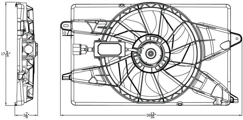 68205996AC For Chrysler 200 Cooling Fan Assembly for Radiator/A/C ...