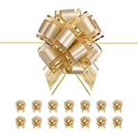 BTSCHOOL 15 Gold Ribbon Bow Large, 6 inches Bow Ribbon, Gift Pull Bows for Presents, Gift Bows Bulk for Baskets