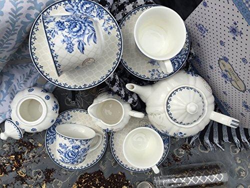 BTäT - Tea Set, China Tea Set, Tea Service, Tea Cups (8oz), Creamer and Sugar Set, Tea Cups and Saucer Set, Tea Pot, Tea Set for Adults, Tea Cups Set of 4, Blue Dream Tea Set, Porcelain Tea Set, Cups by Brew To A Tea (Image #3)