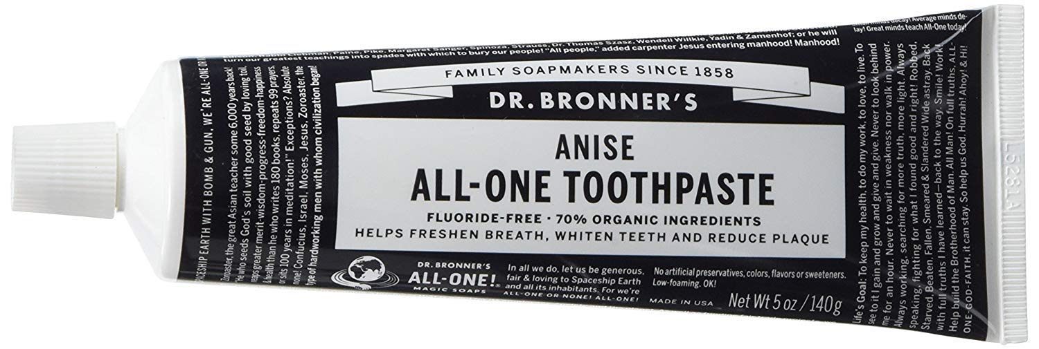 Dr. Bronner's Anise Toothpaste. Fluoride-Free Natural Toothpaste with Organic Ingredients