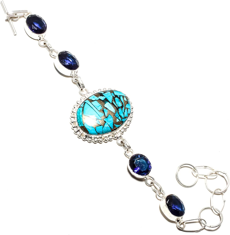 jewels paradise (SF-1062 - Pulsera de Plata de Ley 925 chapada en Plata de Ley con Piedras de Zafiro Azul Turquesa y Azul - Pulsera Ajustable y Flexible con Cadena de eslabones Largos