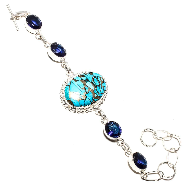 Oval Shaped Natural Blue Sapphire Gemstone 925 Sterling Silver Rose gold Plated Cuff Bracelet,Adjustable bracelet,