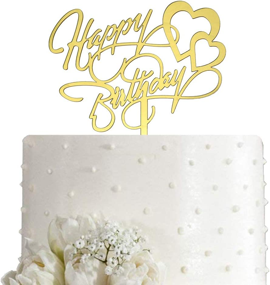 Happy Birthday Cake Topper, Birthday Party Decoration, Mirror Gold Acrylic