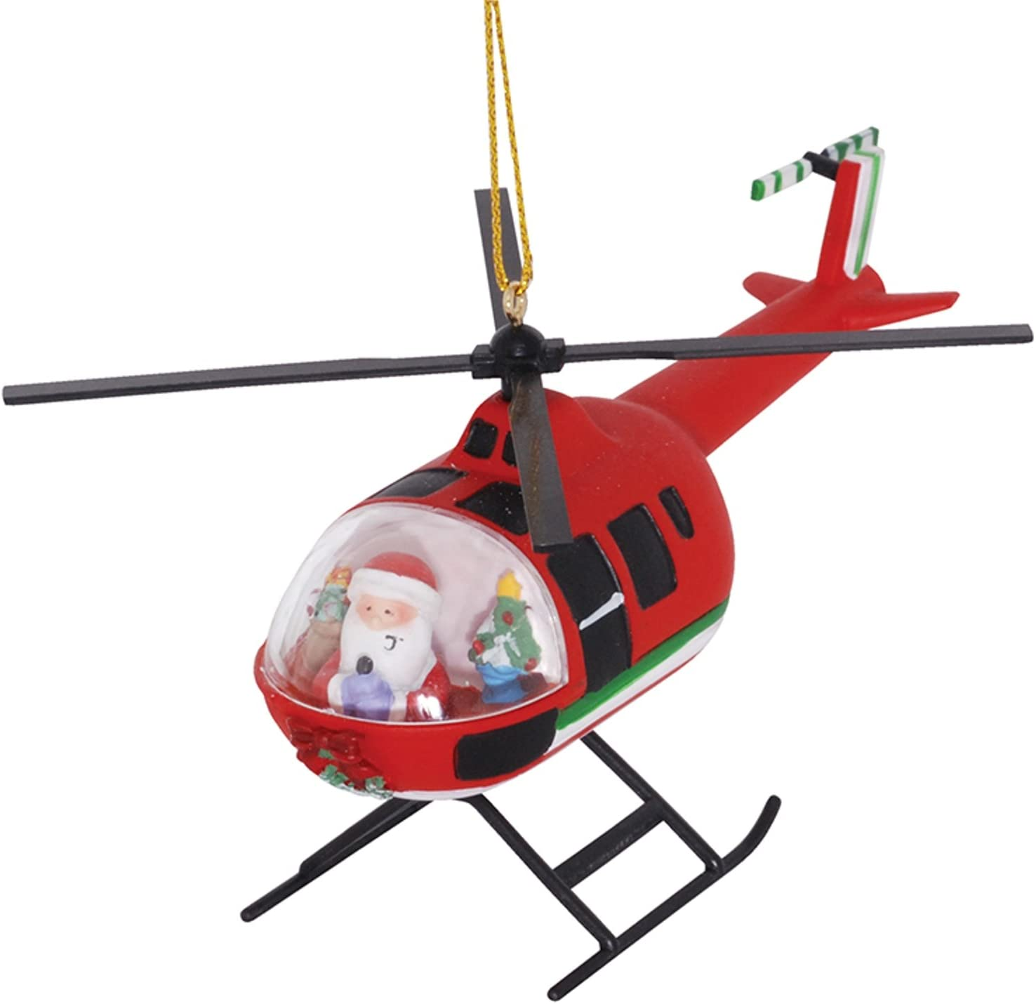 Santa in Red Helicopter Orn