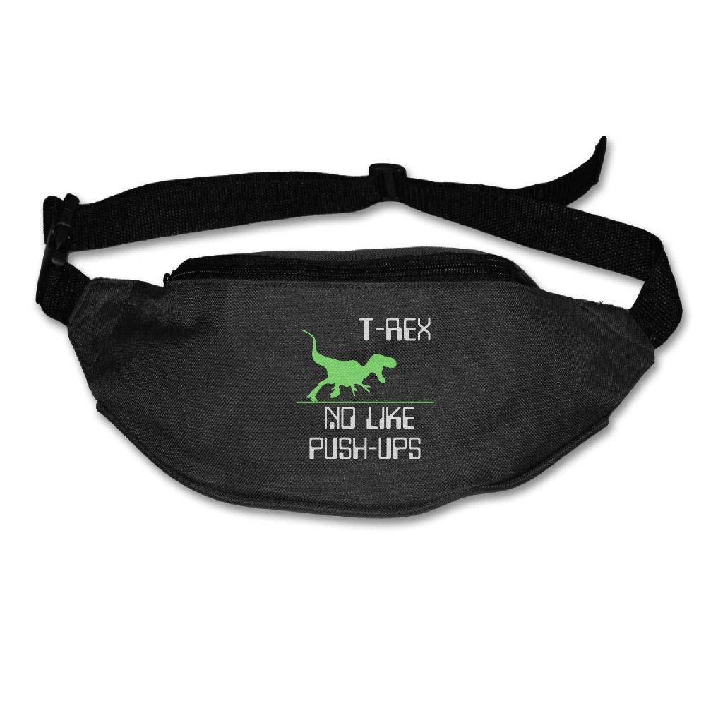 Ada Kitto T-REX NO LIKE PUSH-UPS Mens&Womens Sport Style Travel Waist Bag For Running And Cycling Black One Size
