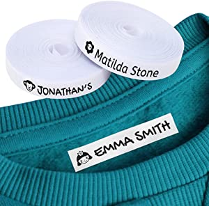 100 Personalized Iron-on Fabric Labels to Mark Your Clothes with Icons. White. Gentle with Your Kids Skin, for Children's School Uniform. (Icons) (White)