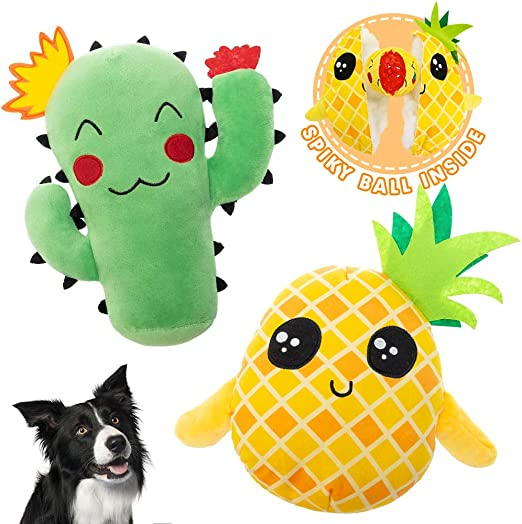 Set Of Dog Stuffed Animals, Hipipet Dog Squeaky Toys 2 Pack Plush Toys Set With Stuffless Body And Rope Handle Cute Animals For Large And Medium Dogs Pet Supplies Dogs