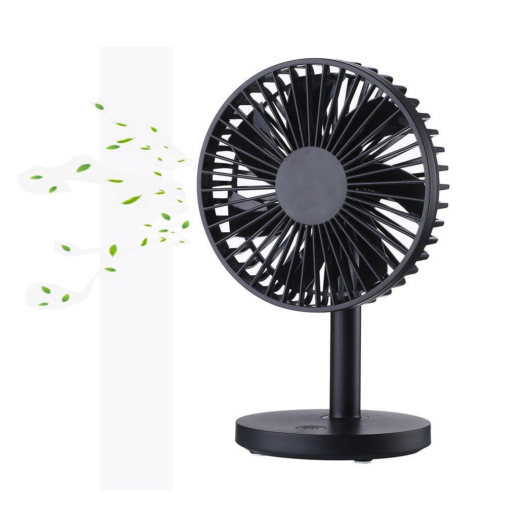 KssFire Mini USB Table Desk Personal Fan Adjustable Angle 3 Speed Desk Fan for Home, Office Silent USB Fan Black 4.72x3.94x7.87 Inch (Black)