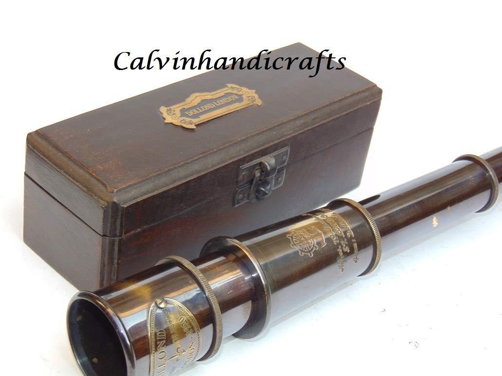 Calvin Beautiful Handmade Antique Marine Telescope/Nautical Pirate Brass Telescope | Brass Antique Spyglass| Brass Antique Telescope | Comes with Wooden Box | Great for Home Decor, Gift